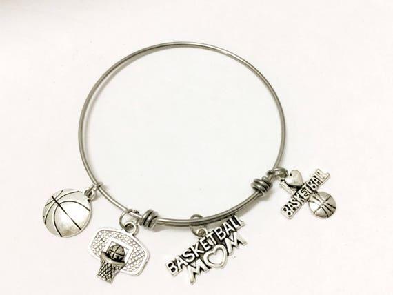 Basketball Mom Bracelet, Basketball Mom Gift, Basketball Expandable Bangle Charm Bracelet, Proud Basketball Mom, Mom Gift, Wife Gift