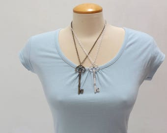 Bronze or Silver Skeleton Key Necklace  - Ready to Ship