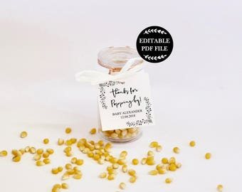 Editable PDF Favor Tags, Thanks for Popping By Tags, Baby Shower Favor, Baby Shower Gift Tags, Baby Shower Printables, Favour Tags, Popcorn