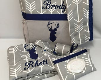 DEER and ARRoWS   ... Diaper Bag MINKY Blanket and Accessories  SET  ... Gray and Navy