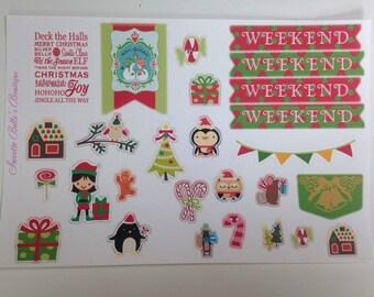 Christmas theme stickers For Planner, Erin Condren, Filofax, Scrapbooking