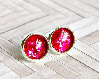 red stud earrings, sparkle jewelry, red cabochon earrings, valentines day gift, gift for her, under 10