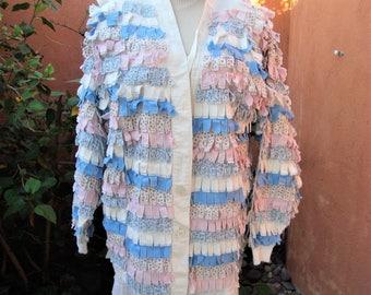 1980s Pastel Calico Rag Strips Jacket Shabby Boho Chic Size M