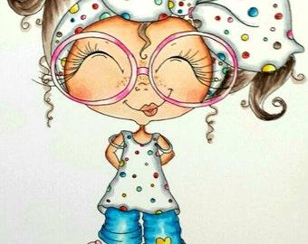 INSTANT DOWNLOAD Digital Digi Stamps Big Eye Big Head Dolls NEW Besties img694 Doodle Butt My Besties By Sherri Baldy