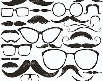 80% OFF SALE Moustache Prop, Mustache clipart commercial use, vector graphics, digital clip art, digital images - CL558