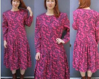 on the wild side dress . Dropped Waist Dress . punk  Dress . No Saint . Pink Camouflage Dress . hipster dress . oversized 80s dress SALE