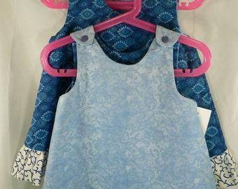 Reversible a-line Dress, Sundress, Jumper, Pinafore Infant Sizes Blue Sunburst with ruffle