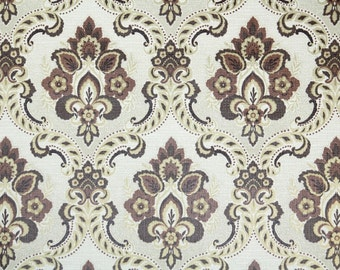 Retro Wallpaper by the Yard 70s Vintage Wallpaper - 1970s Brown and White Damask