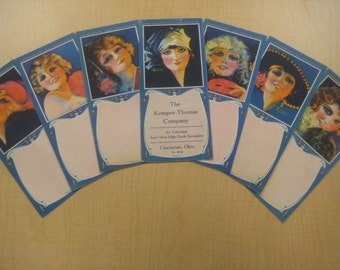 7 Large Art Deco Flapper Ink Blotters by R. Wilson Hammell, 1920s