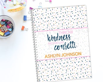 Confetti Personalized Spiral Bound Notebook | FREE SHIPPING | Back To School | 50 sheets | Wide Ruled