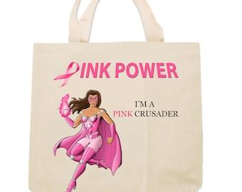 Pink Crusader Breast Cancer Awareness Tote Bag Design 1