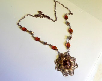 Vintage Glass Cabochon Necklace - Victorian Style