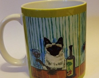 25% off cat art - Siamese cat at the Wine Bar mug cup 11 oz art mug cup 11 oz gift, cat gifts, gift