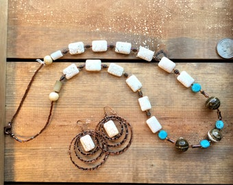 White Magnesite Turquoise, Jasper dark brown with contrasting Blue Howlite and Copper accents make this earthy necklace