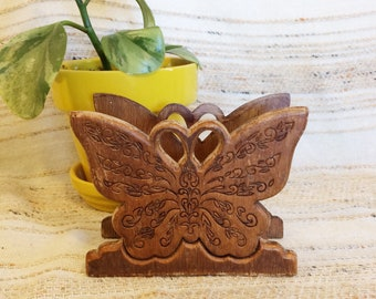 Carved wood napkin holder/vintage butterfly mail holder