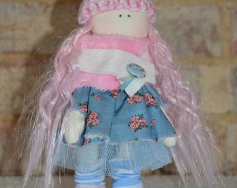 Handmade Rag Doll/Fabric Doll - Pink Lady Doll