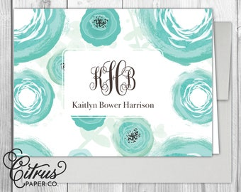 Watercolor Floral Stationery - Stationary - Women's-Folding Note Cards Interlocking Monogram Bridal Shower Bridesmaid Gift Idea Personalized