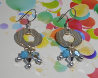 """2"""" Long Silver Tone Pierce Earrings Round Punch Metal & Swarovski Crystal Aqua Blue Beads Fashionable Day Evening Party Style OOAK Gift Idea"""