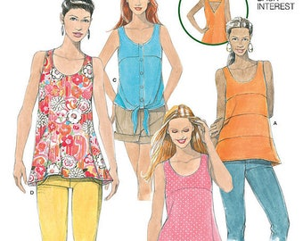 UNCUT Misses' Top, Shirt Blouse Simplicity 1614 Size 4-6-8-10-12 Open Back, Learn to Sew