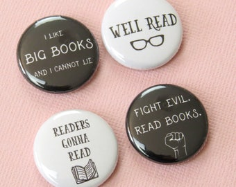 Bookish Button Badges - Book Pin Badge Pack - Gift for Book Lover - Reader Pin Badge - Books - Librarian Gift  - Funny Book Lover Gift