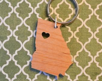 Atlanta, Georgia Love Wood Key Ring