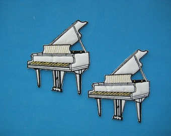 2 pcs Iron-on Embroidered Patch Piano 4.25 inch