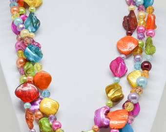 Colorful Multi Strand Beaded Necklace