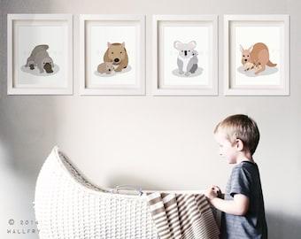 Australian Animal nursery art. Outback nursery prints. Aussie animal art kangaroo, koala, wombat. SET OF 4 prints by WallFry