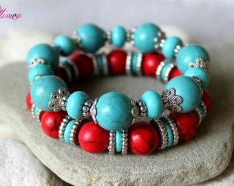Boho Bracelet Set, Hippie Bracelet Set, Set of 2, Ethnic Bracelet, Turquoise Bracelet, Blue Red Bracelet, Tibetian Bracelet, Nepal Bracelet