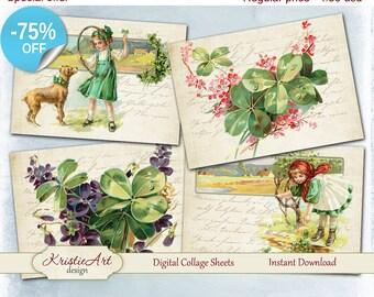 75% OFF SALE  St. Patrick's Day - Digital Collage Sheet Digital Cards C224