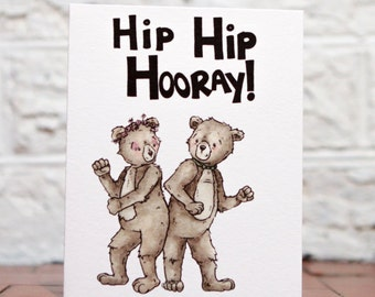 Wedding Card Funny, Funny Congrats Card, Congratulations Card, Engagement Card, Happy For You, Hip Hip Hooray, Celebration Card, Bear Gift