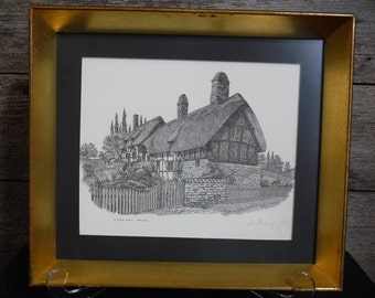 vintage signed etching Anne Hathaway's Cottage by Anthony John