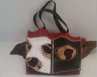 Vintage Signed Doris Herrera Handmade Leather Stitched Cowhide Accent Handbag, Red Black And White Leather Handbag With Cow Fur Accents