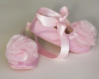 Pink Satin Baby Ballet Slipper - Flower Girl Ballet Flat in 23 colors - Pink  Toddler Shoe  - Holiday Baby Girl Shoe - Baby Souls Baby Shoes