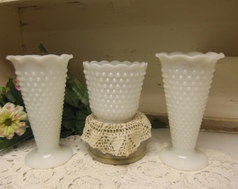 3 Vintage White or Milk Glass Hobnail Vase Set Wedding B918