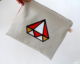 Geometric Diamond Clutch /  Ipad Sleeve, Gadget case