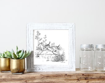 Running Deer illustration- Giclee Fine Art Print - Pen and Ink Illustration - Baby Deer lllustration - Artist Rachael Caringella