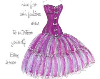Purple dress fashion illustration- Inspirational print- Watercolor wall art - corset sketch- Betsey Johnson- Girls room decor- Teen wall art