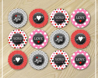 Valentine's Day - Cupcake Toppers - Valentine Party Printable