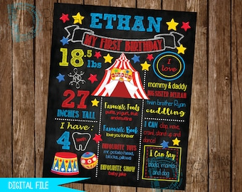 Carnival Birthday Sign, Circus Birthday Sign, Carnival Party, Milestone Poster, 1st Birthday Sign, First Birthday Sign, Birthday Chalkboard