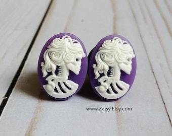 Purple Skull Goddess Plugs for Gauged Ears Sizes 2G, 0G, 00G, 1/2, 9/16, 5/8 Inch, 15mm, 14mm, 12mm, 10mm, 8mm, 6mm, 5mm,4mm, One Pair(1)
