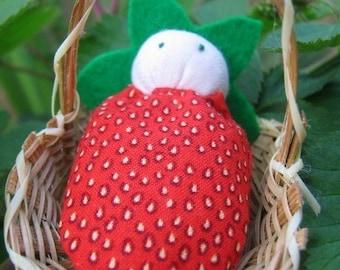 Mini Strawberry Doll in Basket