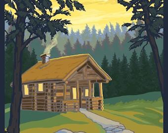 Blue Ridge Mountains, Georgia - Cabin in Woods - Lantern Press Artwork (Art Print - Multiple Sizes Available)