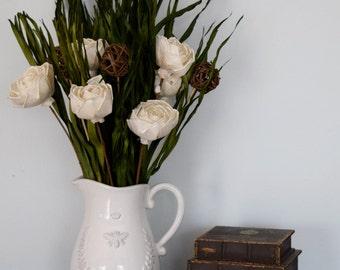 Dried Floral Arrangement   Dried Florals in Rustic White Pitcher Vase   Rustic Decor   Farmhouse Decor