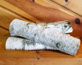 White Birch Half Logs, 12 Inch Wood Logs, Fireplace Decor, Home Decor, Holiday Decor. Winter Decor, Christmas Decor, Real Logs, Natural Logs