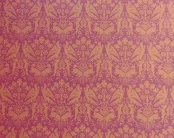 "Dollhouse Miniature Brodnax Victorian Wallpaper Mauve Rose ""Peregrine"" 1:12 Scale Victorian Animals"