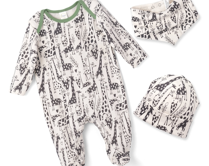SALE! Newborn Baby Boy Coming Home Outfit, Infant Boy Romper, Baby Boy Giraffe Onesie Romper, Baby Giraffe Clothes, Newborn Footie TesaBabe