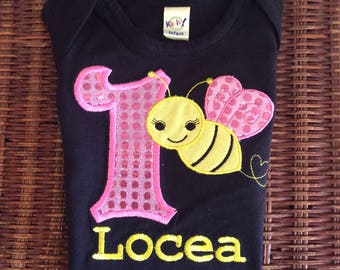 Bumble Bee sparkle shirt- customized up to girls' size 6x