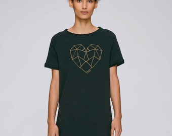 DRESS Black Organic Cotton Short Sleeves Turned With Heart Tenders