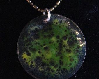 Blue Green Enameled Pendant (022017-010)